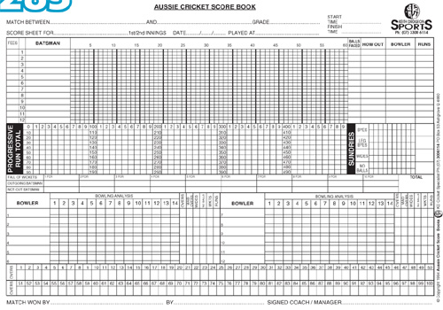 Cricket Score Sheet  WowcircleTk